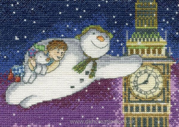 The Snowman and Snowdog Flying Past Big Ben Cross Stitch Kit